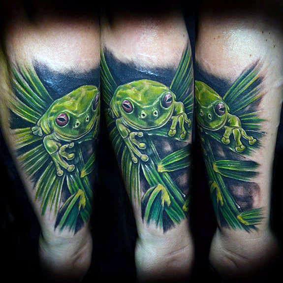 Awesome Green Leaf With Green Frog Mens Inner Forearm Tattoos