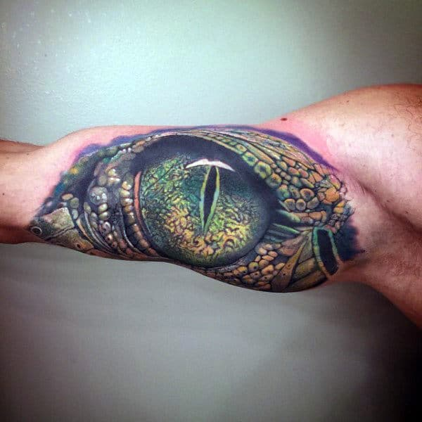 Awesome Green Lizard Eye Tattoo Mens Arms
