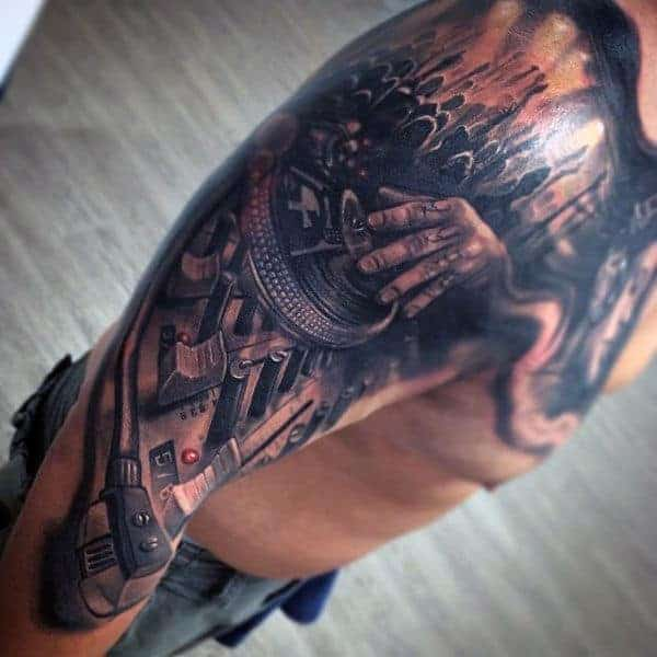 awesome-grey-black-musical-tattoo-for-men-on-shoulders