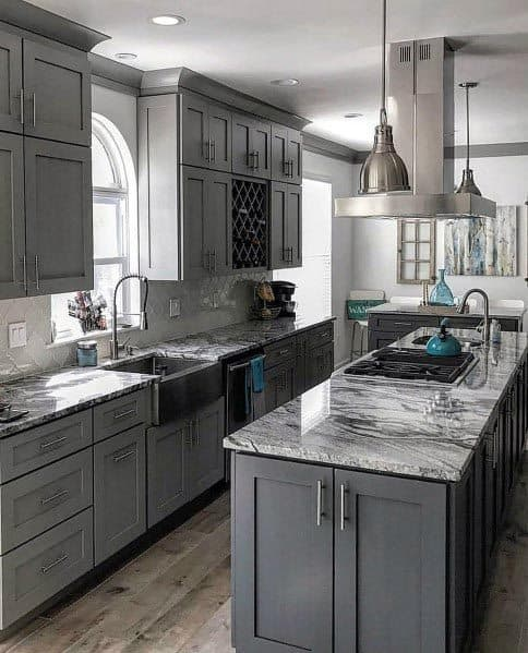 Top Best Grey Kitchen Ideas Refined Interior Designs - Gray kitchen cabinets with marble countertops