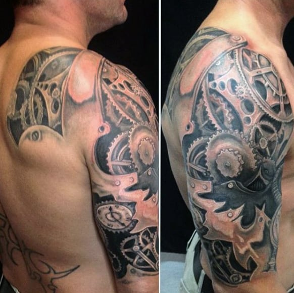 Awesome Grey Shaded Steampunk Tattoo Mens Shoulder