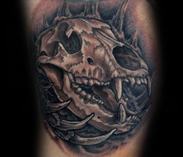 Awesome Guys Arm Bear Skull Tattoos