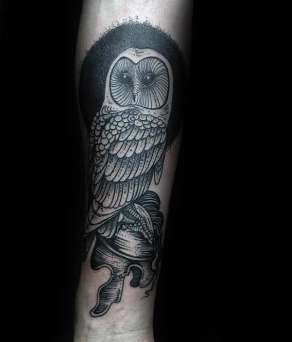 Awesome Guys Barn Owl Inner Forearm Tattoos