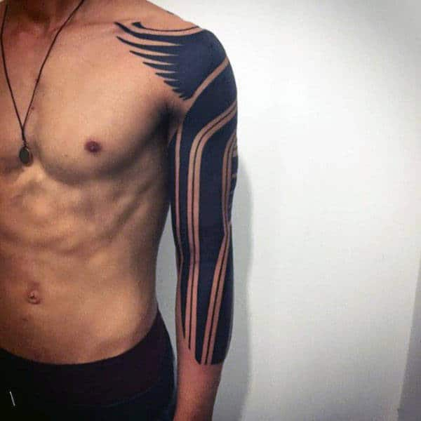 Awesome Guys Blackwork Trbial Half Sleeve Tattoo Design Ideas