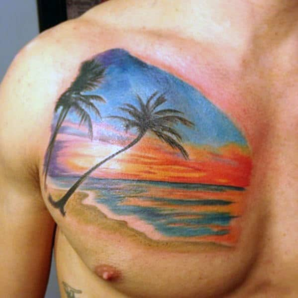 Awesome Guys Clouds Sunset Beach Landscape Chest Tattoo
