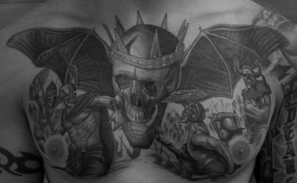 Awesome Guys Deathbat Themed 3d Tattoo On Upper Chest