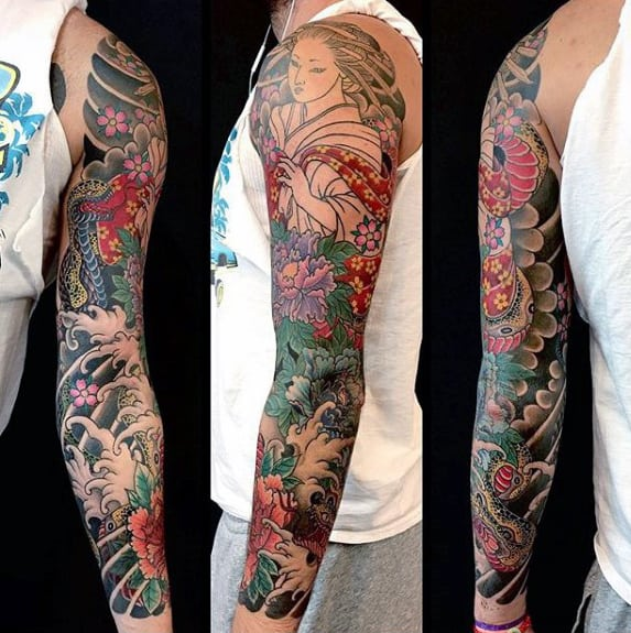 Awesome Guys Full Sleeve Japanese Flower Tattoo Ideas