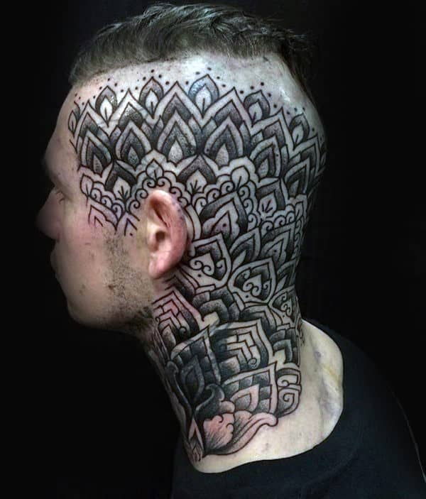 Awesome Guys Geometric Flower Head Tattoo