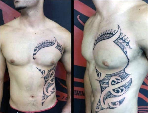 Awesome Guys Hawaiian Tribal Rib Cage Side Of Body Tattoos