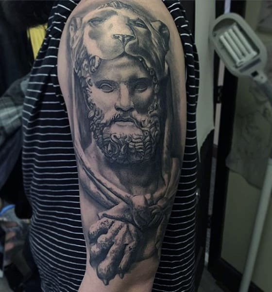 Awesome Guys Hercules Upepr Arm Tattoo With Shaded Ink 3d Design