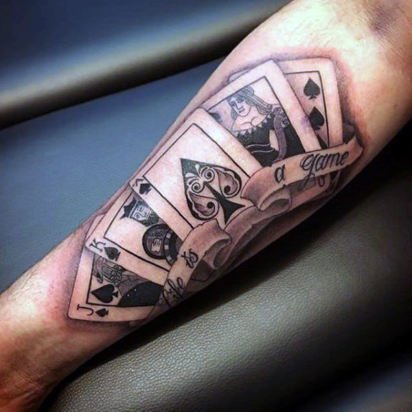 Awesome Guys Inner Arm Playing Card Tattoos