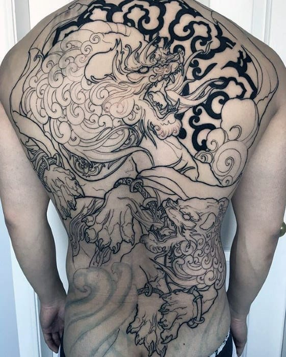 Awesome Guys Japanese Fu Dog Back Tattoo