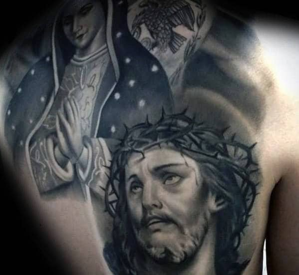 Awesome Guys Jesus Shaded Back Tattoo Design Inspiration