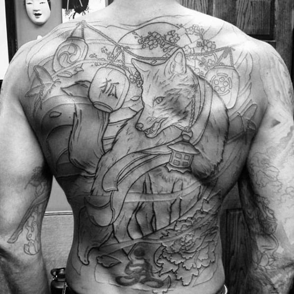 Awesome Guys Kitsune Lantern Full Back Tattoos