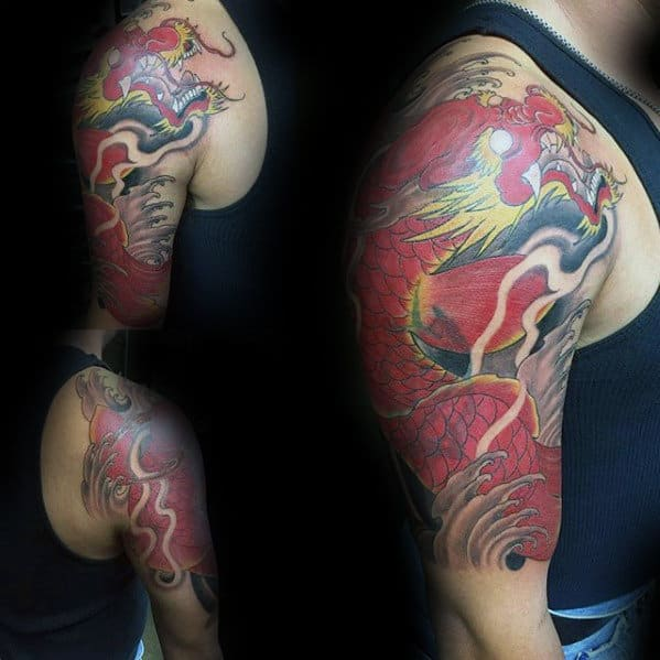 Awesome Guys Koi Dragon Red Ink Half Sleeve Tattoo Designs