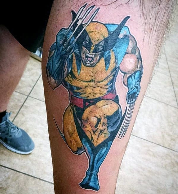 Awesome Guys Leg Wolverine Running Tattoo Designs