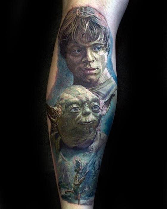 Awesome Guys Leg Yoda Star Wars Theme Tattoo