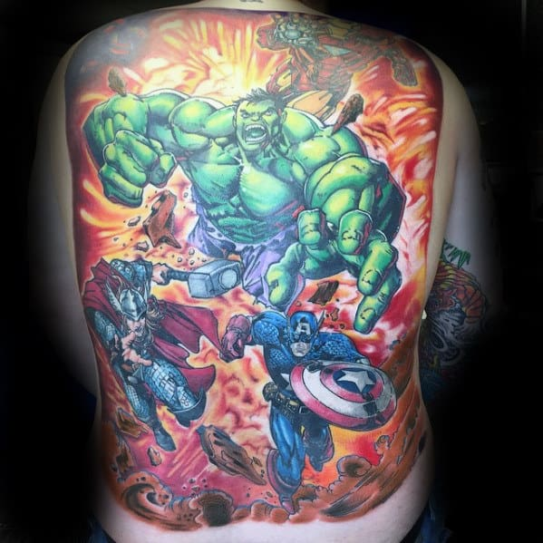Awesome Guys Marvel Full Back Tattoos