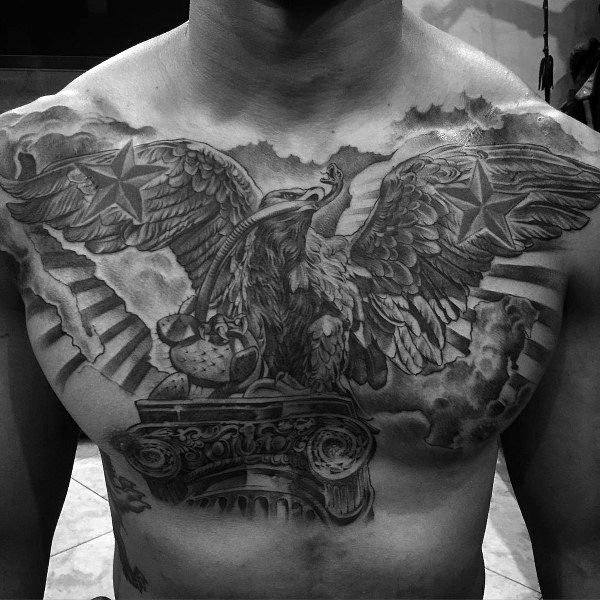 Men Chest And Upper Sleeve With Nice Flowers Tattoo: 80 Eagle Chest Tattoo Designs For Men