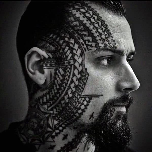 Awesome Guys Polynesian Tribal Face Tattoos With Pattern Design