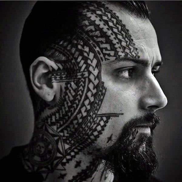 90 face tattoos for men masculine design ideas. Black Bedroom Furniture Sets. Home Design Ideas