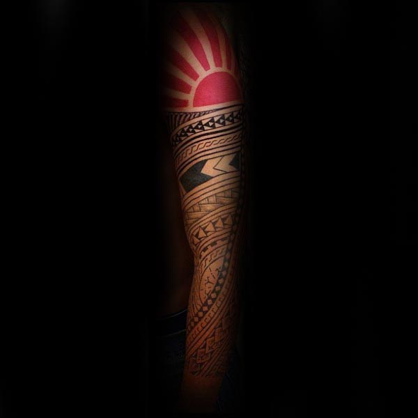 Awesome Guys Polynesian Tribal Rising Sun Full Arm Sleeve Tattoos