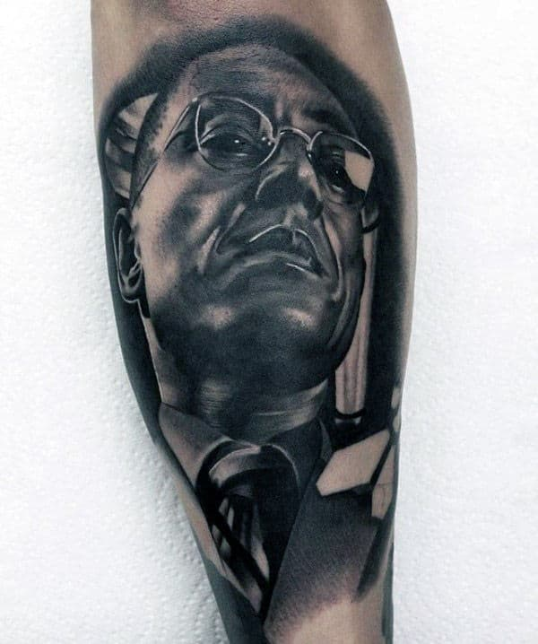 Awesome Guys Portrait Breaking Bad Themed Leg Tattoos