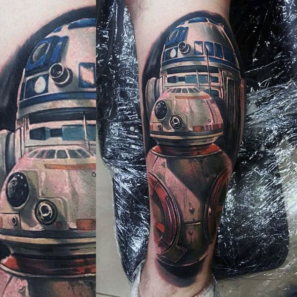 Awesome Guys Rd2d Leg Tattoo Designs