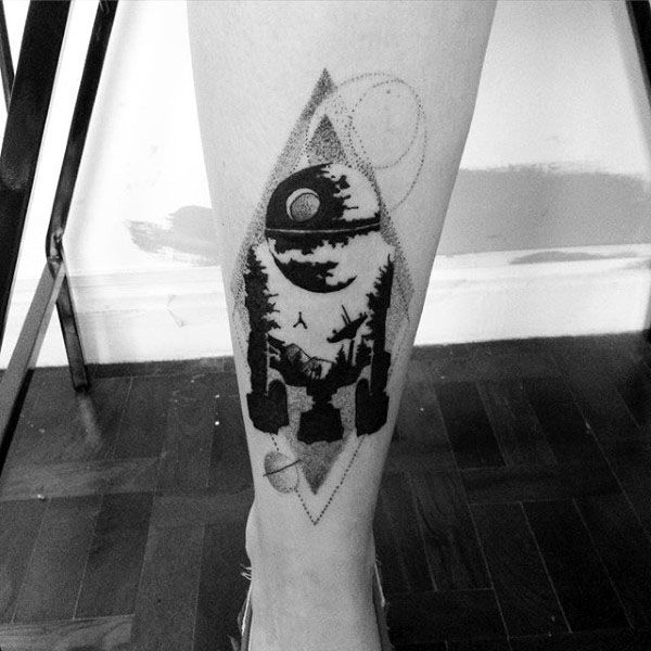 Awesome Guys Rd2d Tattoo On Back Of Leg With Geometrical Dotwork Design
