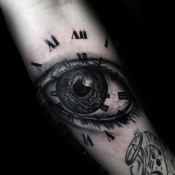 Awesome Guys Roman Numeral Tattoo With Eye On Forearm