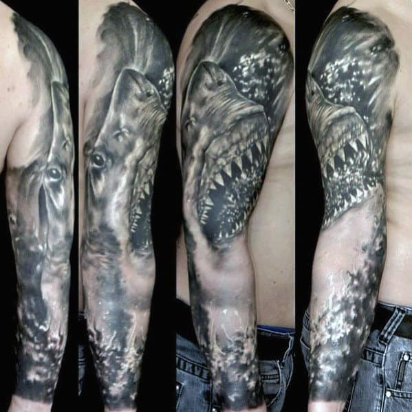 Awesome Guys Shark Sleeve Tattoo Inspiration