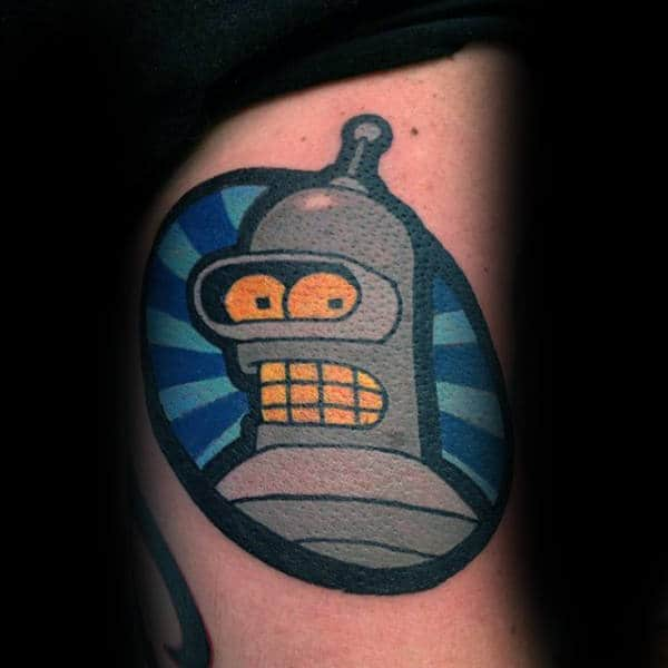 Awesome Guys Small Futurama Bender The Robot Tattoo On Arm