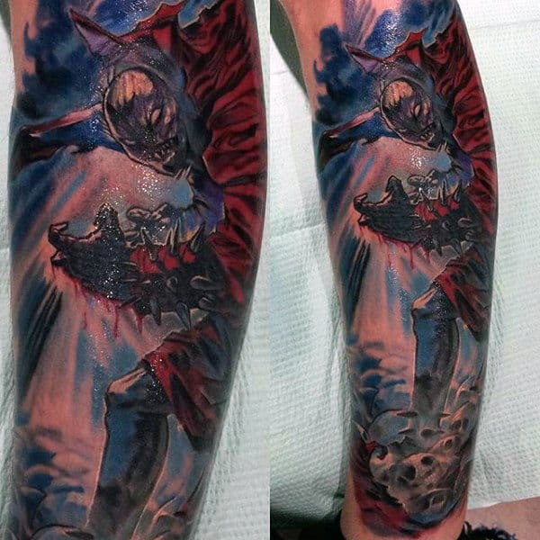 Awesome Guys Spawn Lower Leg Tattoo Designs