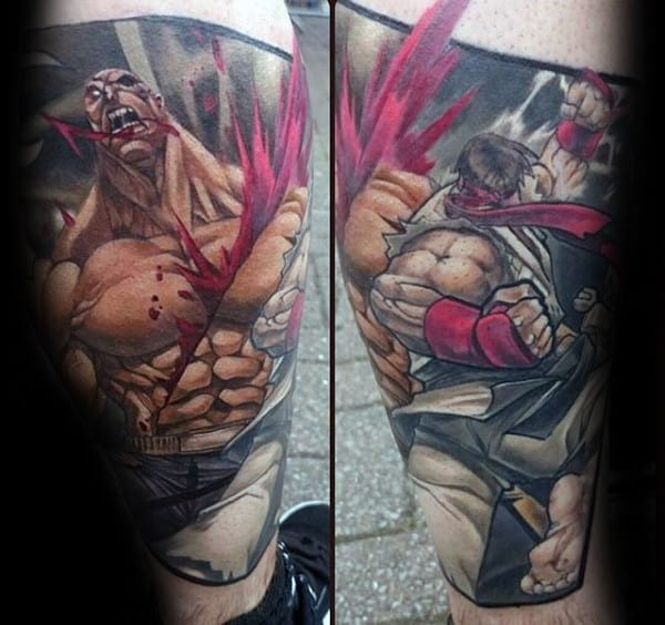 Awesome Guys Street Fighter Tattoo Designs On Leg