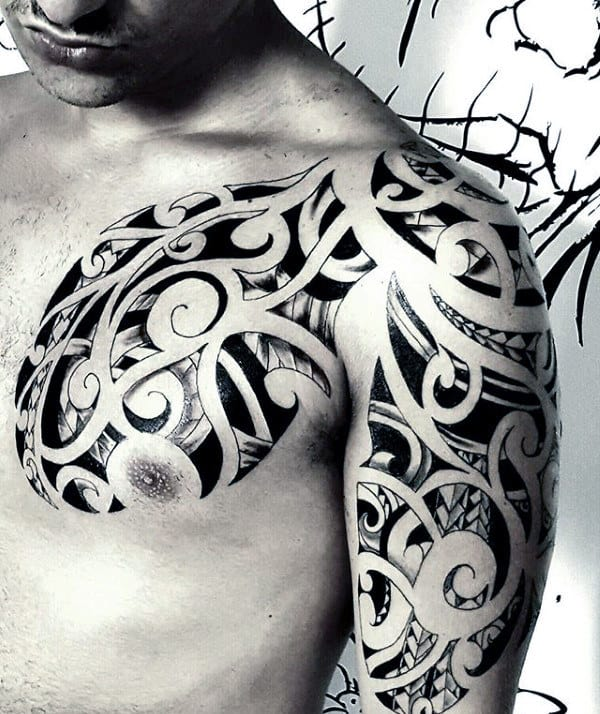 Awesome Guys Tribal Shoulder Tattoo Design Ideas