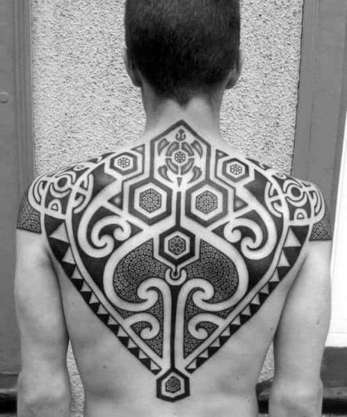 Awesome Guys Tribal Turtle Dotwork Upper Back Pattern Tattoos
