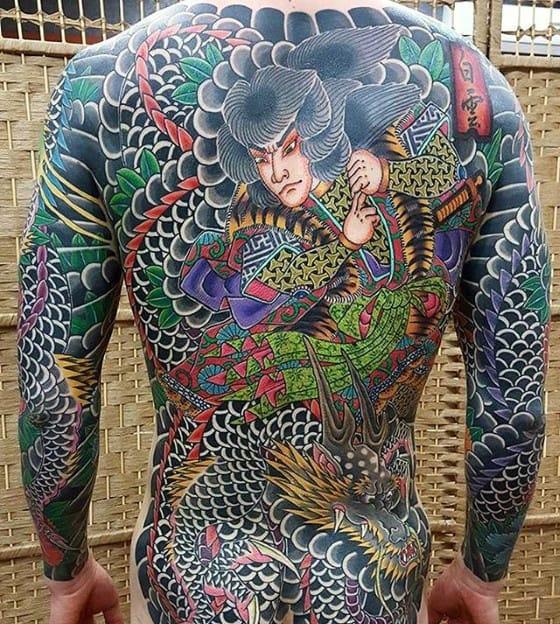 Awesome Guys Warrior Dragon Japanese Back Tattoo