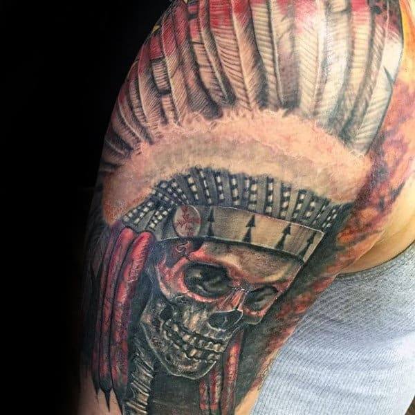 Awesome Half Sleeve Indian Skull Tattoos For Gentlemen