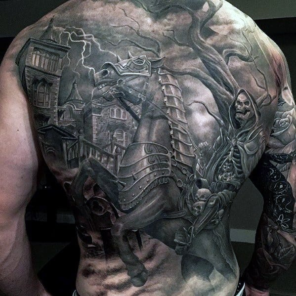 Awesome Haunted House Tattoos For Men