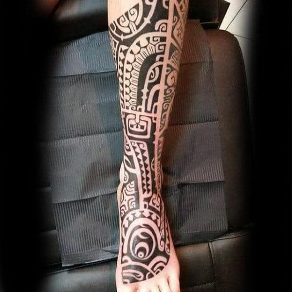 60 tribal leg tattoos for men cool cultural design ideas for Mens foot tattoos