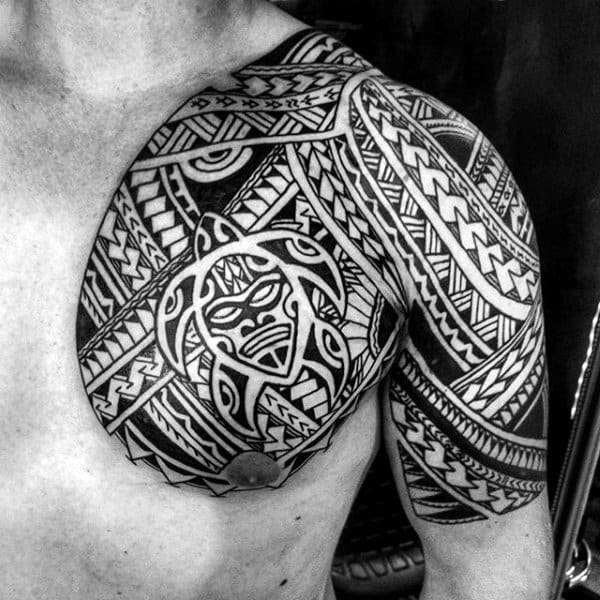 Awesome Hawaiian Turtle Swimming Half Sleeve Tribal Tattoos For Guys