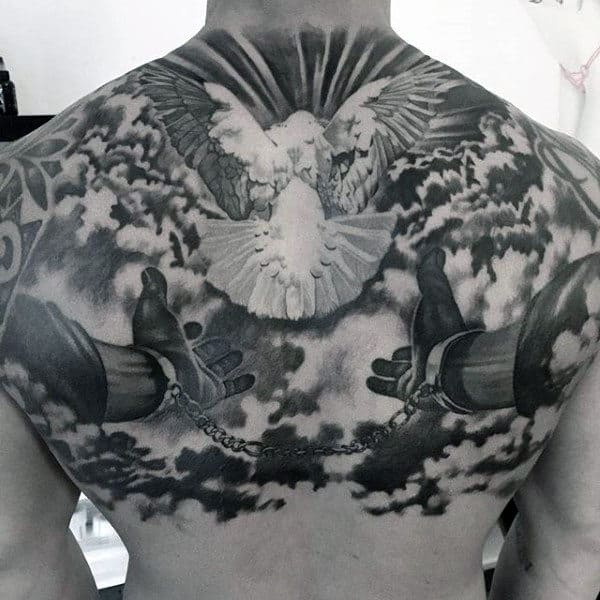 Awesome Heaven Back Mens Tattoo With White Ink Dove