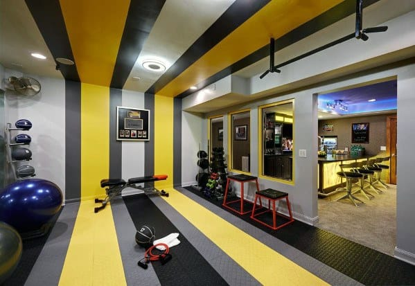 Awesome Home Gym Flooring Ideas Black And Yellow