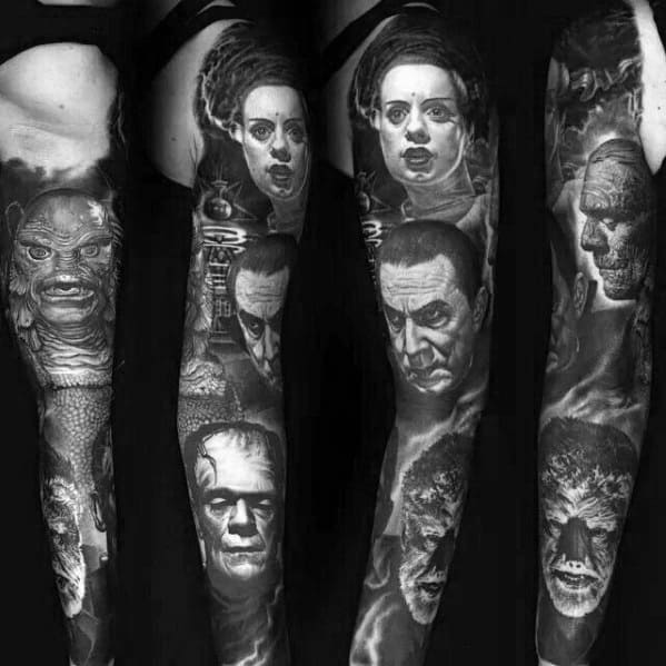 Awesome Horror Movie Themed Full Arm Sleeve 3d Tattoos For Men