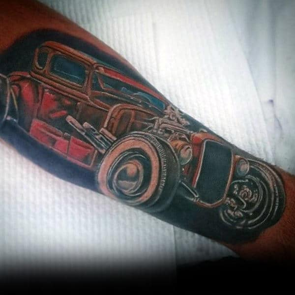 Awesome Hot Rod Tattoo Male Forearms
