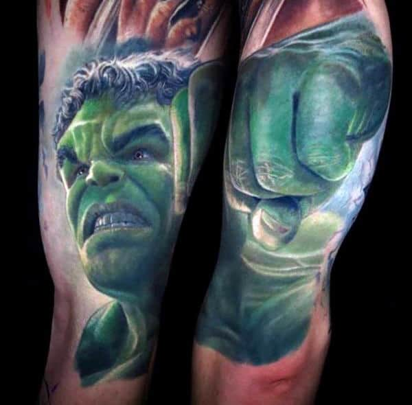 Awesome Hulk Tattoo Male Upper Arms
