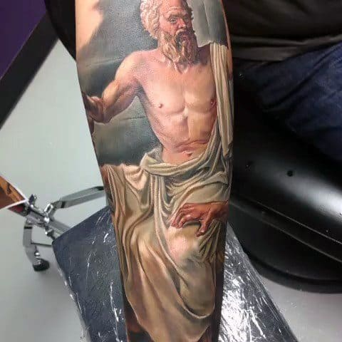 Awesome Hyper Realistic Forearm Sleeve Socrates Tattoos For Men