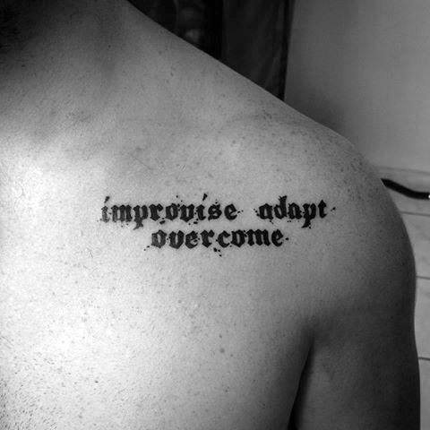 Awesome Improvise Adapt Overcome Chest Tattoos For Men