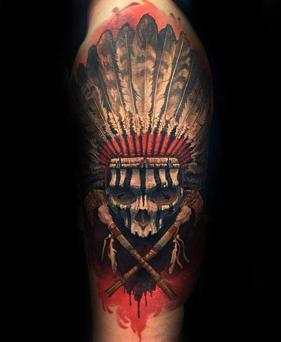 80 indian skull tattoo designs for men cool ink ideas for Skull tattoos for men sleeves