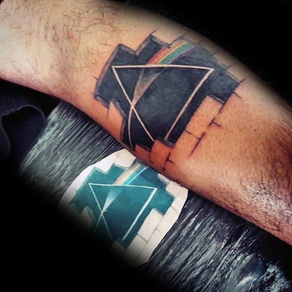 Awesome Ink Dark Side Of The Moon Tattoos For Men On Leg Calf